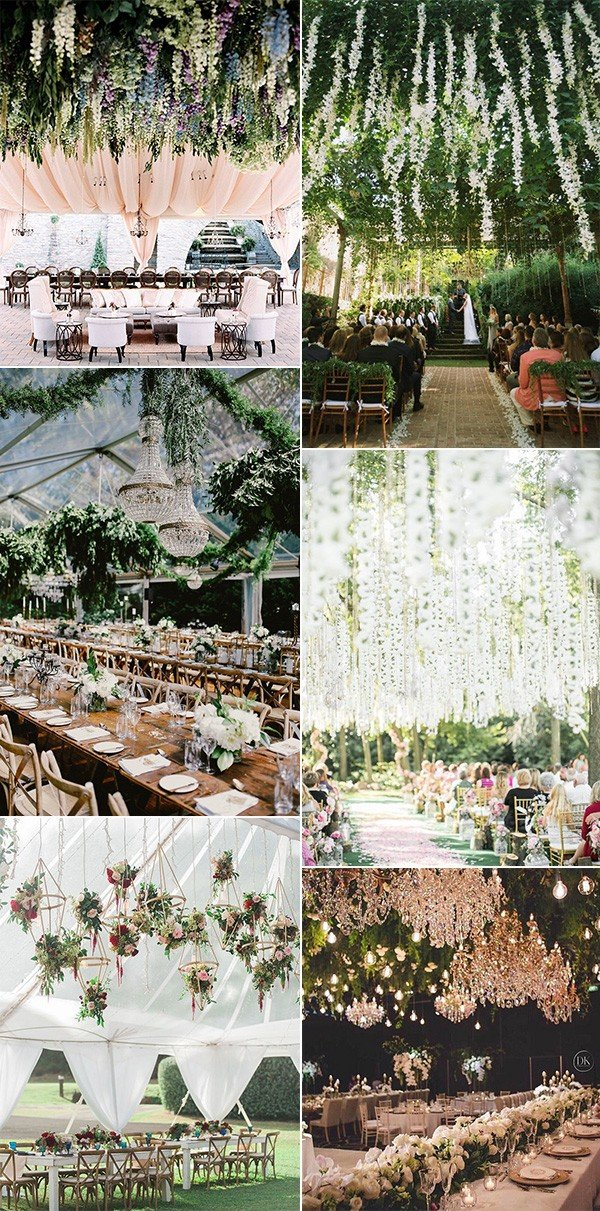 greenery floral ceiling wedding decoration ideas