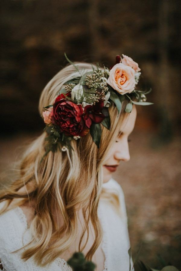 half up half down wedding hairstyles with flower crown for fall wedding 886a1f02923