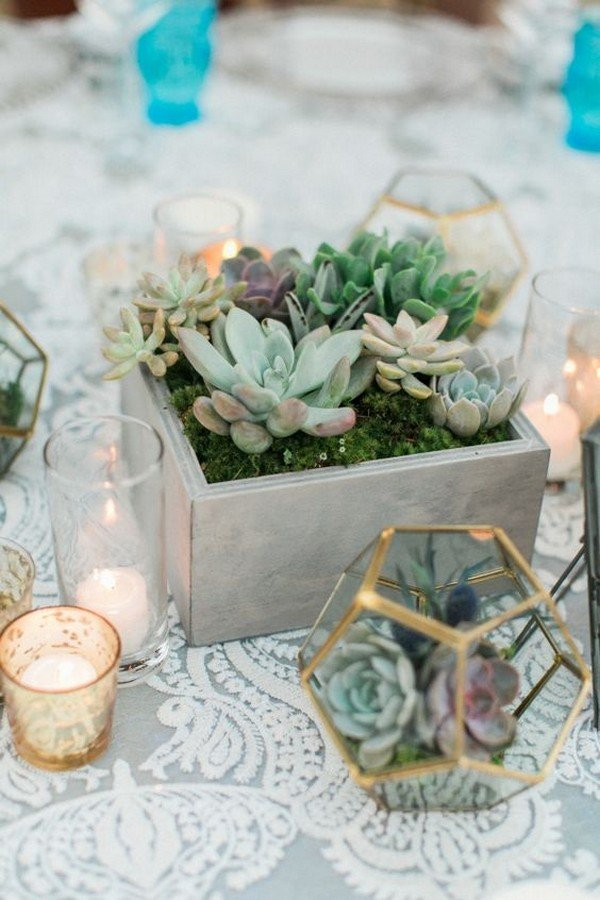industrial chic geometric terrarium and concrete wedding centerpiece ideas