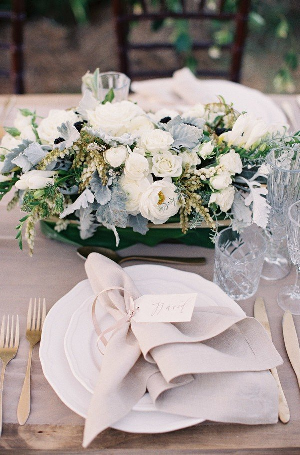ivory gray and green elegant wedding table setting ideas