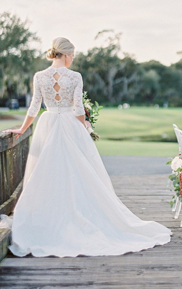 keyhole back wedding dress with long lace sleeves from London and Lace Bridal