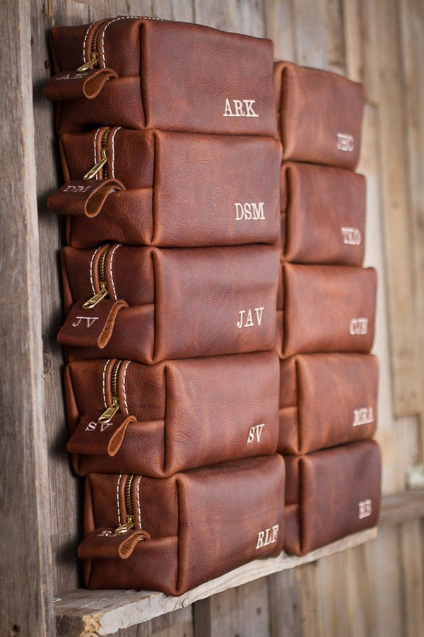 leather bag with their initials groomsmen gift ideas