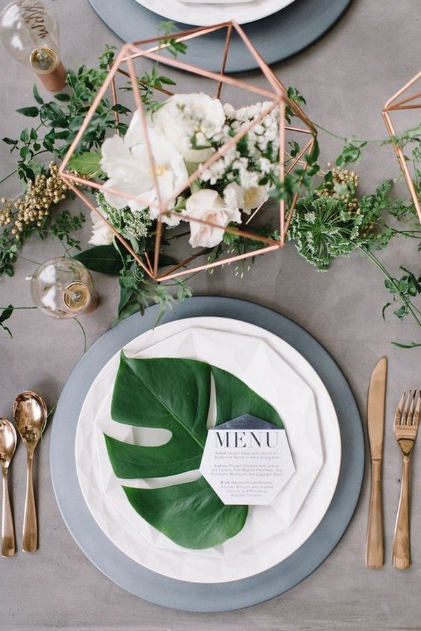 modern chic copper and greenery wedding table setting ideas