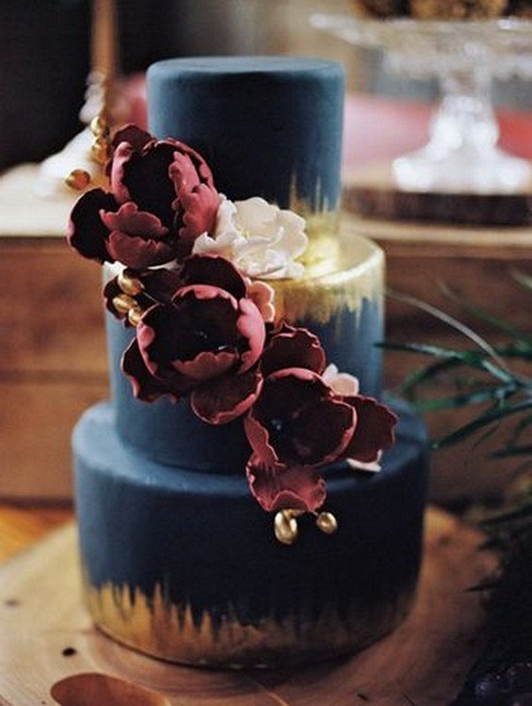 navy burgundy and metallic gold wedding cake ideas