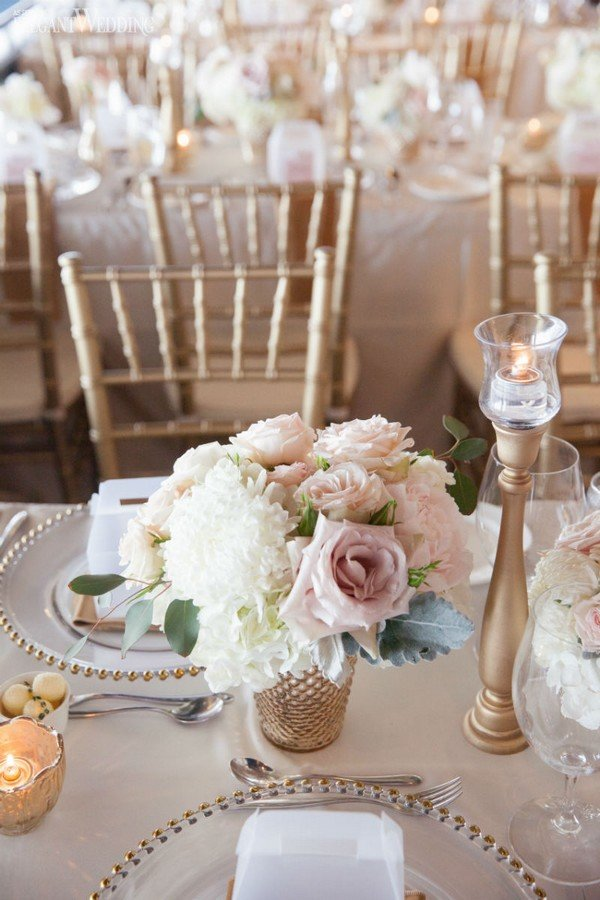 pink and gold elegant wedding table ideas