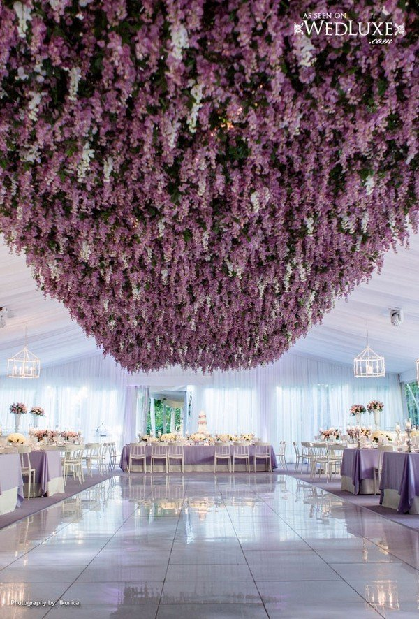 purple flower ceiling wedding reception ideas