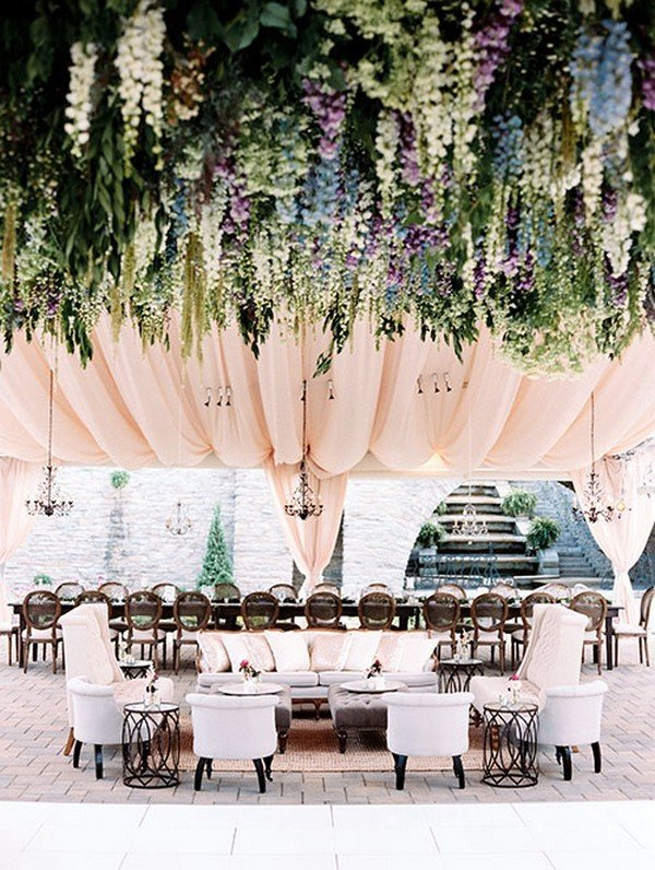 reception lounge area with flower ceiling