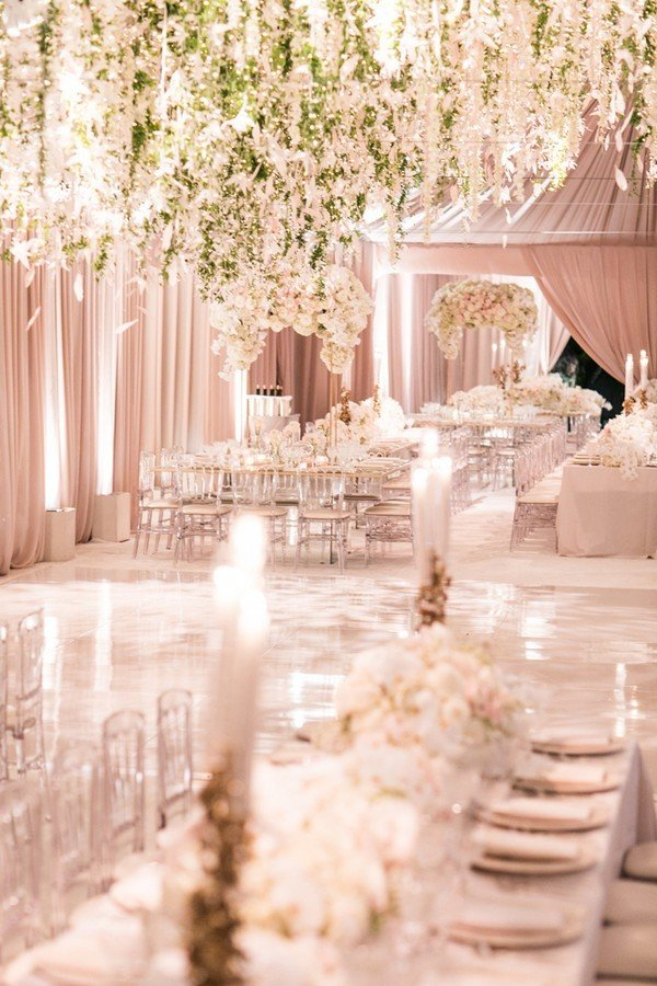 romantic ballroom wedding reception ideas with flower installation hanging from ceiling
