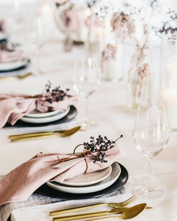 simple but elegant pink and gold wedding table settings & Top 15 So Elegant Wedding Table Setting Ideas for 2018 - Oh Best Day ...
