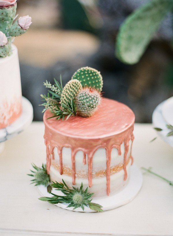 simple metallic copper wedding cake