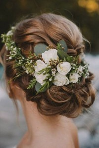 updo wedding hairstyle ideas with greenery flower crown