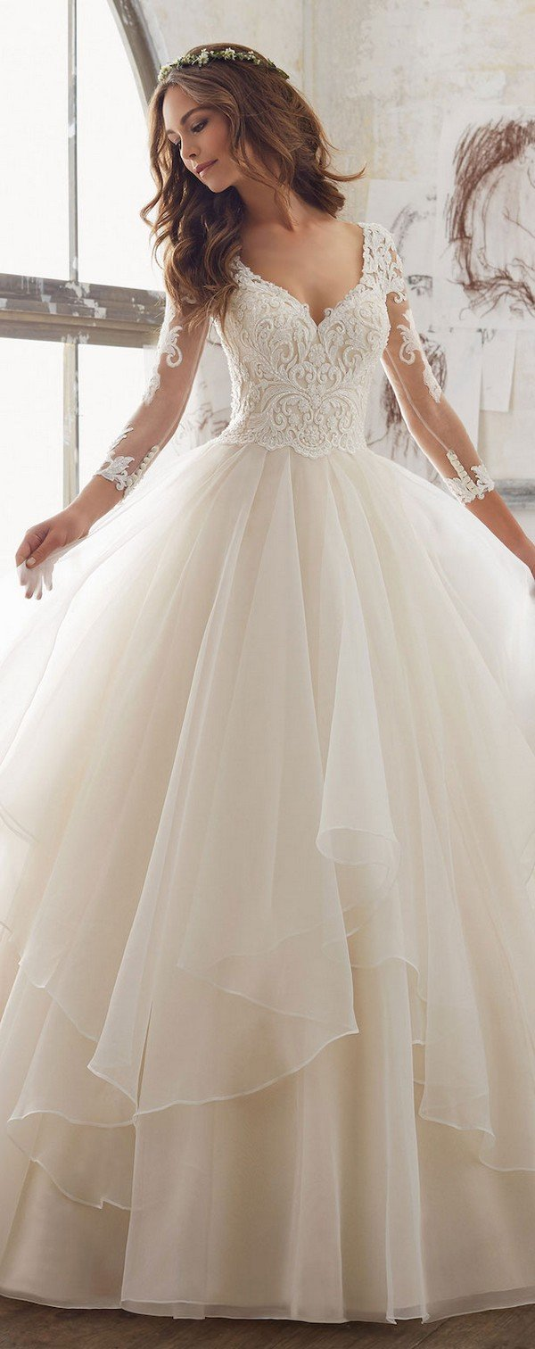 v neck ball gown from Morilee with lace sleeves
