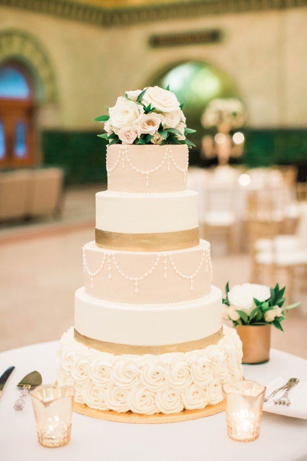 vintage blush pink and metallic gold wedding cake