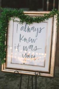 vintage greenery decorated wedding sign ideas