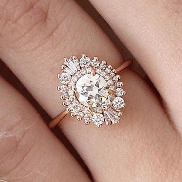 vintage rose gold floral diamond wedding engagement ring