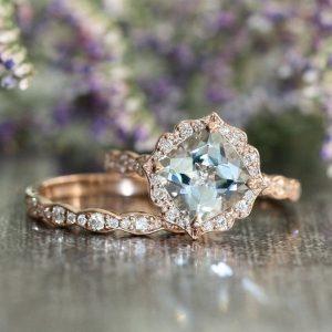 vintage wedding engagement ring set
