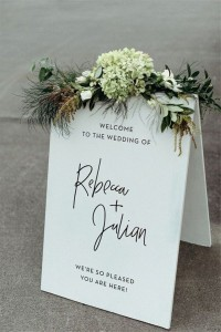 white and green chic wedding sign ideas