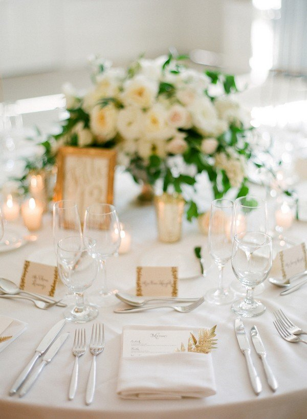 Merveilleux White Gold And Green Elegant Wedding Table Decoration Ideas