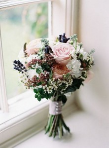 Peony Rose and Lavender Wedding Bouquet