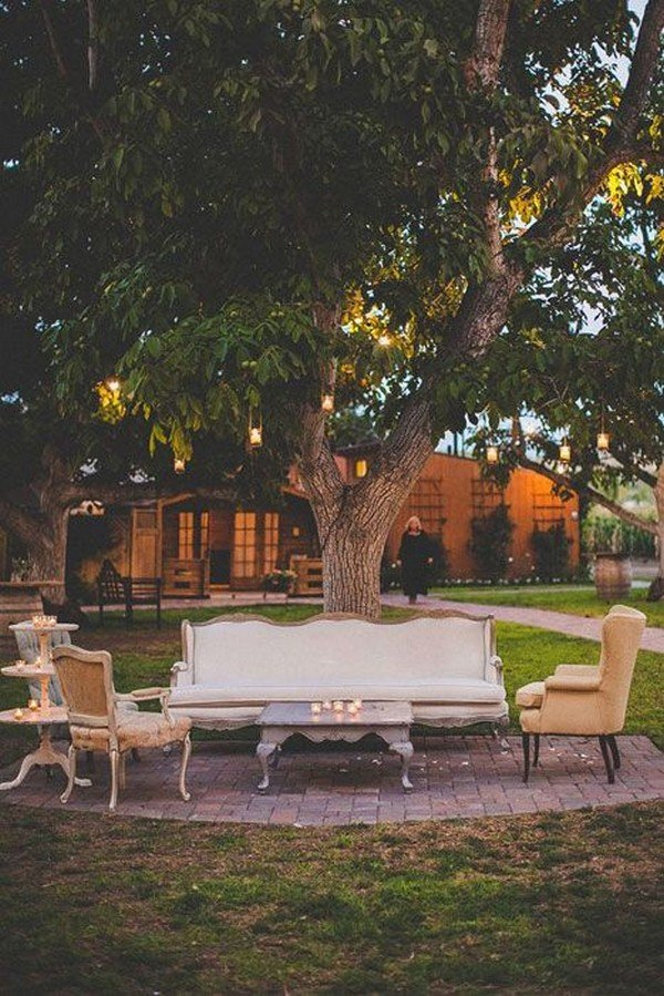 backyard wedding lounge area