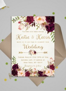 burgundy and blush floral wedding invitations for 2018