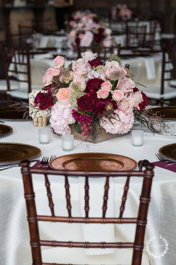 burgundy and blush wedding floral centerpieces