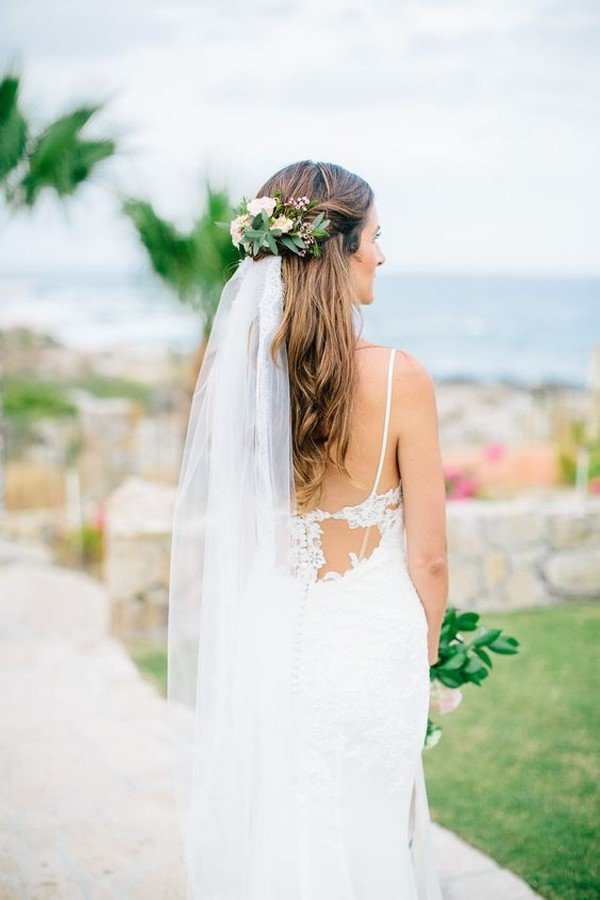 chic bridal hairstyle with flower crown and veil