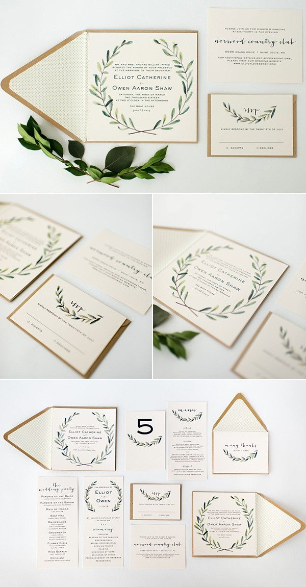 chic greenery olive branch wedding invitations for 2018