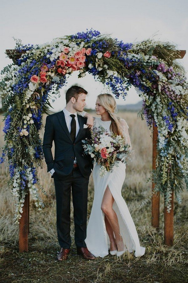 chic rustic floral wedding arch ideas