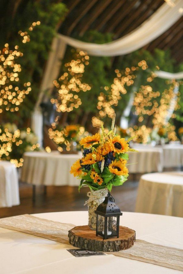 chic rustic sunflower wedding centerpiece ideas with lanterns