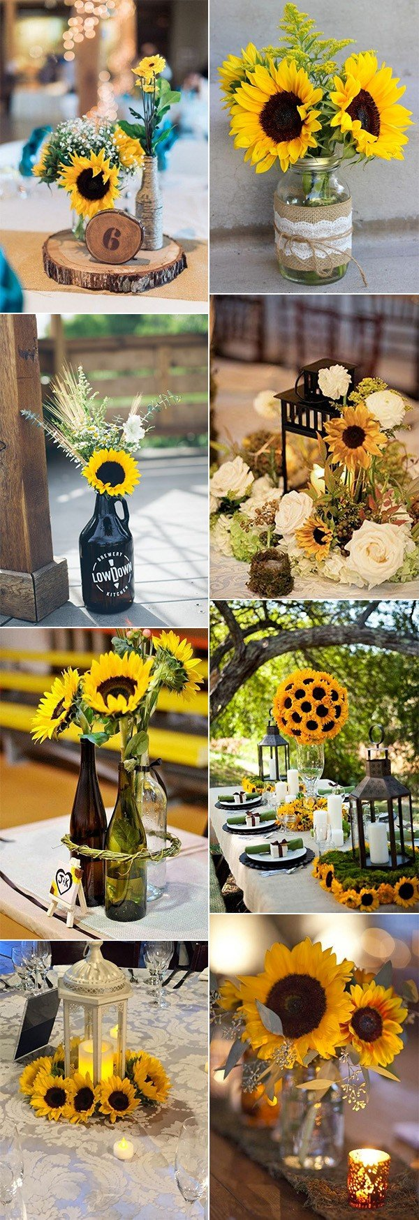 chic sunflower wedding centerpiece ideas