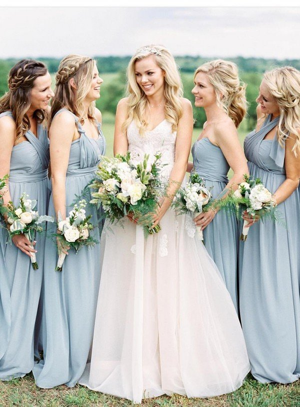 convertible mismatched blue bridesmaid dresses
