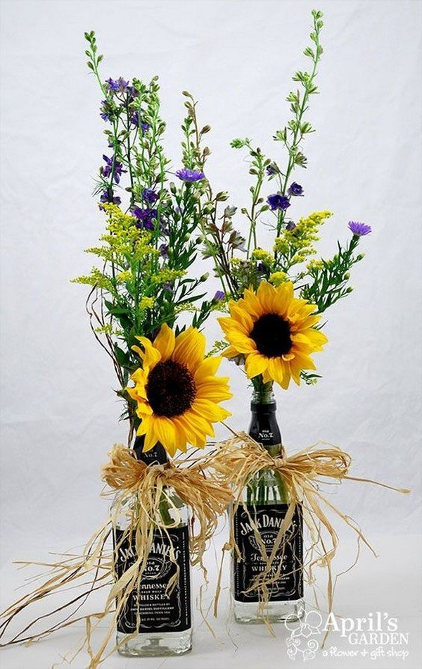 diy country themed sunflower wedding centerpiece