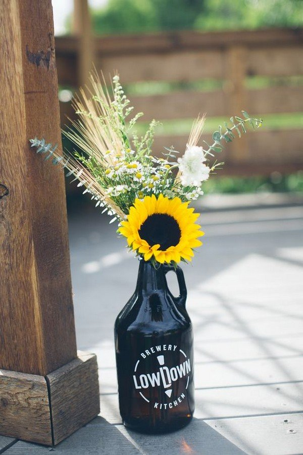 diy sunflower wedding centerpiece ideas