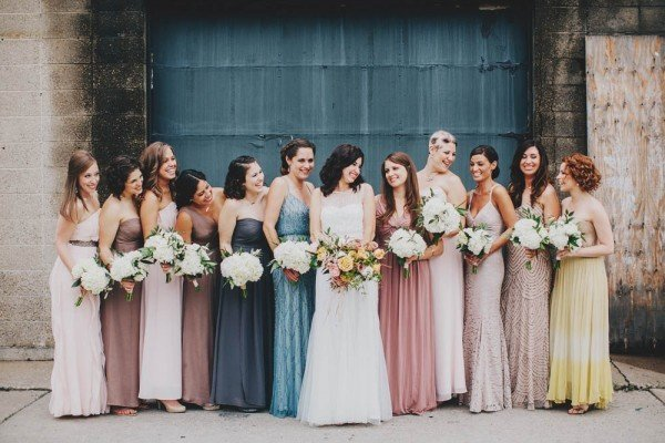 dusty rose and shades of blue mismatched bridesmaid dresses