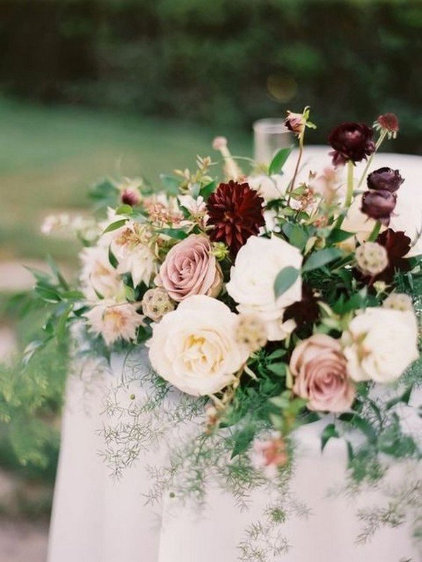elegant blush and burgundy wedding centerpiece
