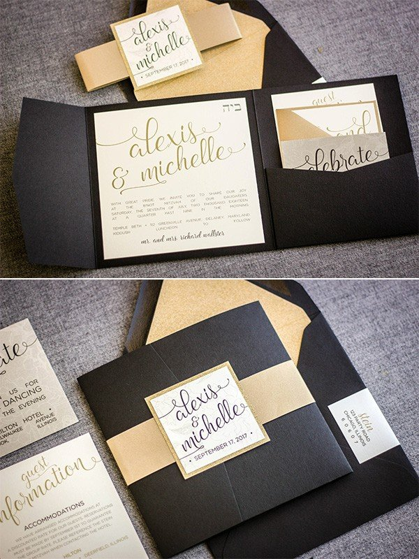glitter gold and black calligraphy wedding invitations