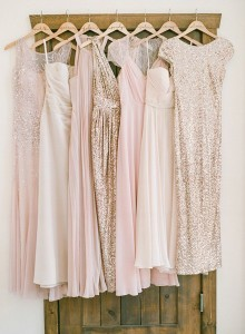 glittering pink and gold mismatched bridesmaid dresses
