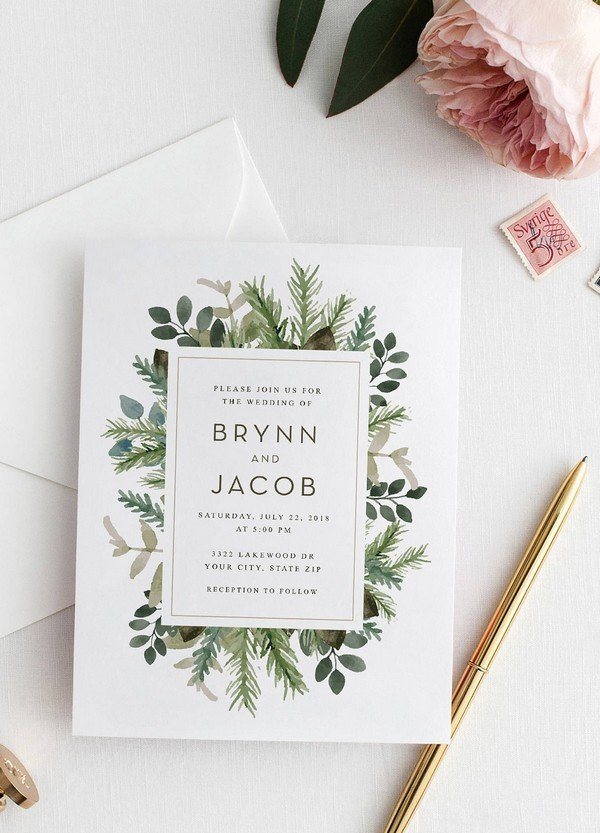 greenery modern botanical wedding invitations