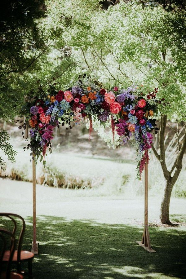 jewelry tones floral wedding arch decoration ideas