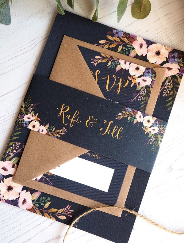 navy blue and blush floral chic wedding invitations