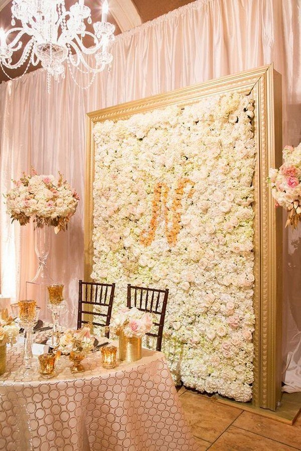 pink and gold flower wall wedding backdrop