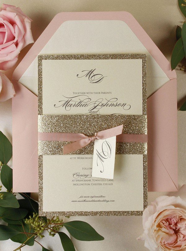 pink and gold glitter wedding invitations for 2018