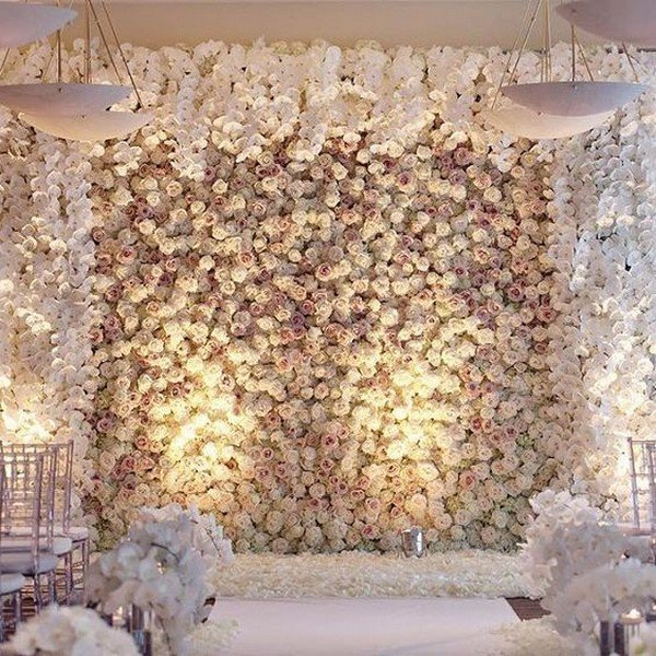 romantic rose wall wedding backdrop ideas