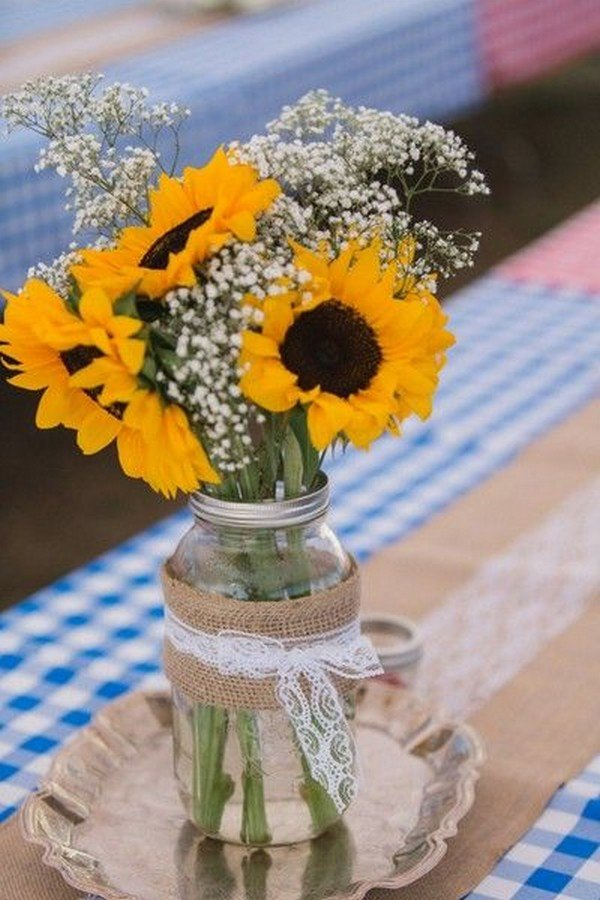rustic chic sunflower wedding centerpiece ideas