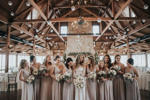 rustic neutral color inspired mismatched bridesmaid dresses
