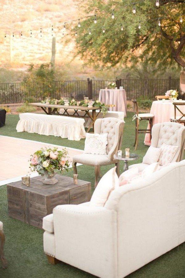 rustic outdoor wedding lounge area ideas