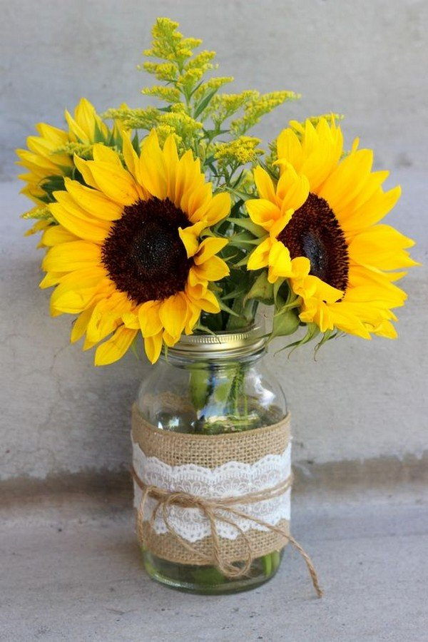 rustic sunflower wedding centerpiece with mason jar