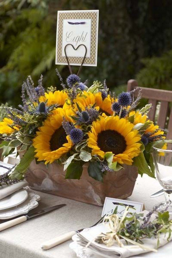 rustic wedding centerpiece ideas with sunflowers