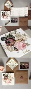 shabby chic vintage floral wedding invitations